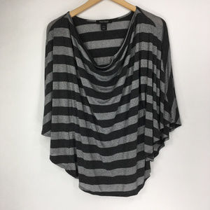 WHBM L Gray Stripe Batwing Blouse Draped